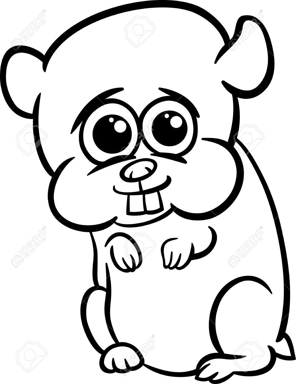 dessin anime noir et blanc illustration de mignon petit bebe hamster animal pour coloring book