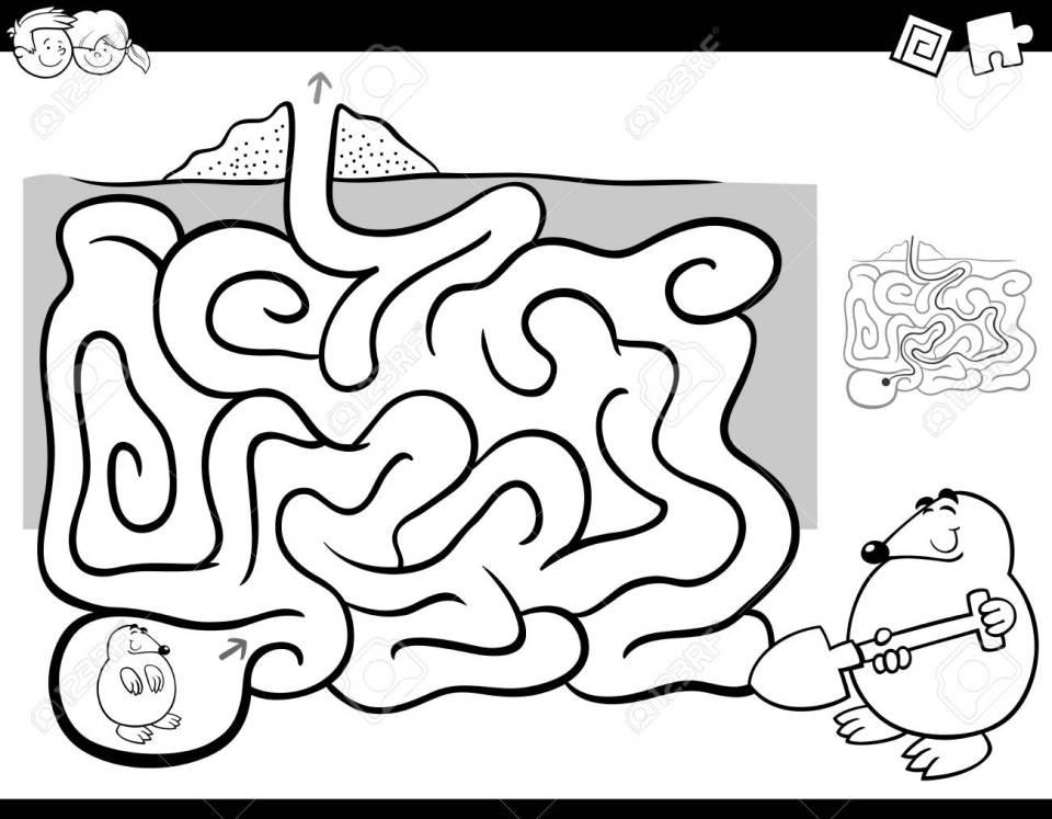 黒と白の漫画ほくろ動物キャラクターぬりえと子供の教育迷路や迷宮活動
