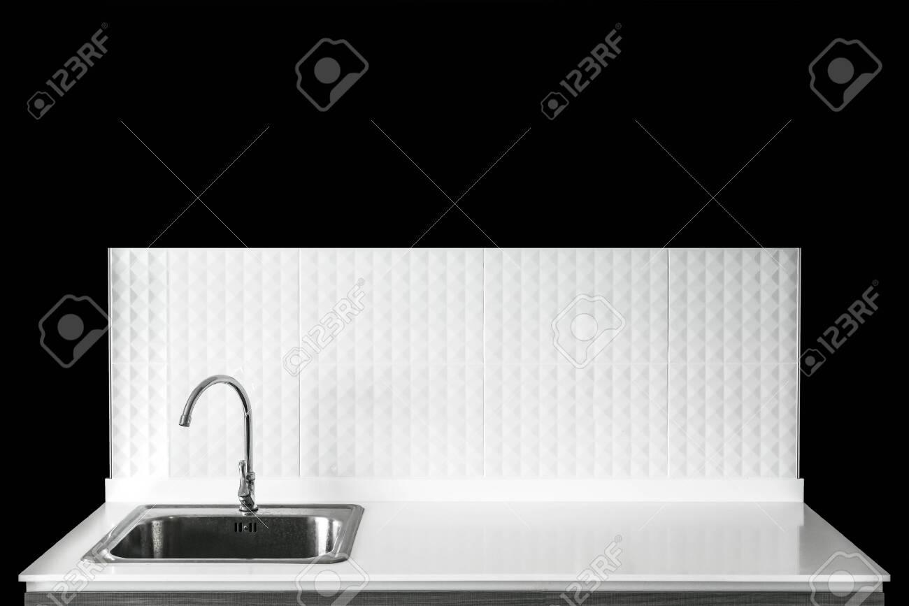 https www 123rf com photo 136459580 steel sink in modern white kitchen clean interior design html