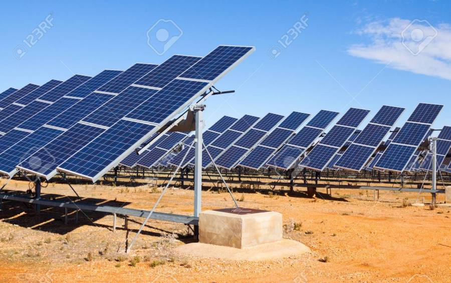 Closeup Of Electric Solar Panel System At Desert Stock Photo     Closeup of electric solar panel system at desert Stock Photo   51770662