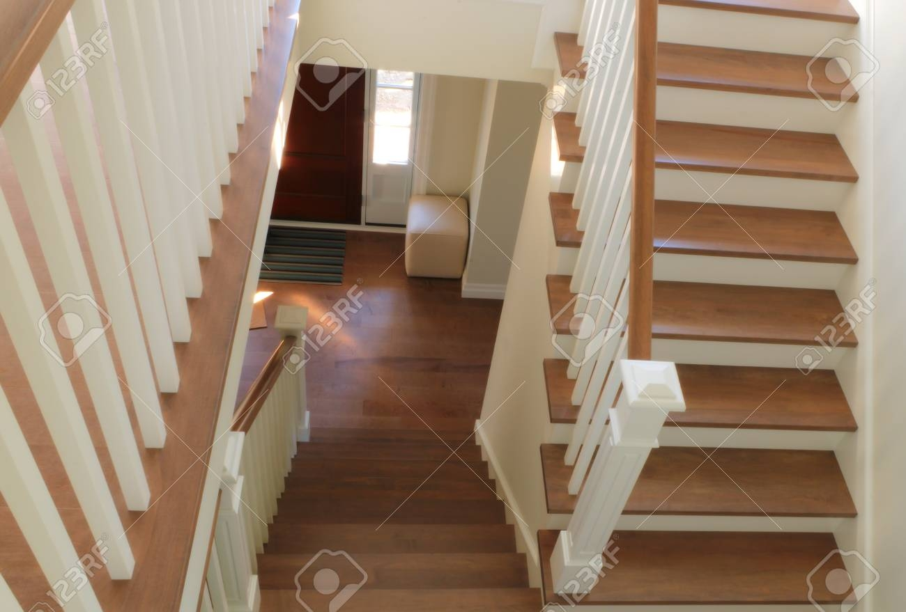 Staircase Home Interior Wood And White Paint Modern Style Steps | Interior Handrails For Steps | Aircraft Cable | Wrought Iron | Western | Closed Staircase | Stair Bannister