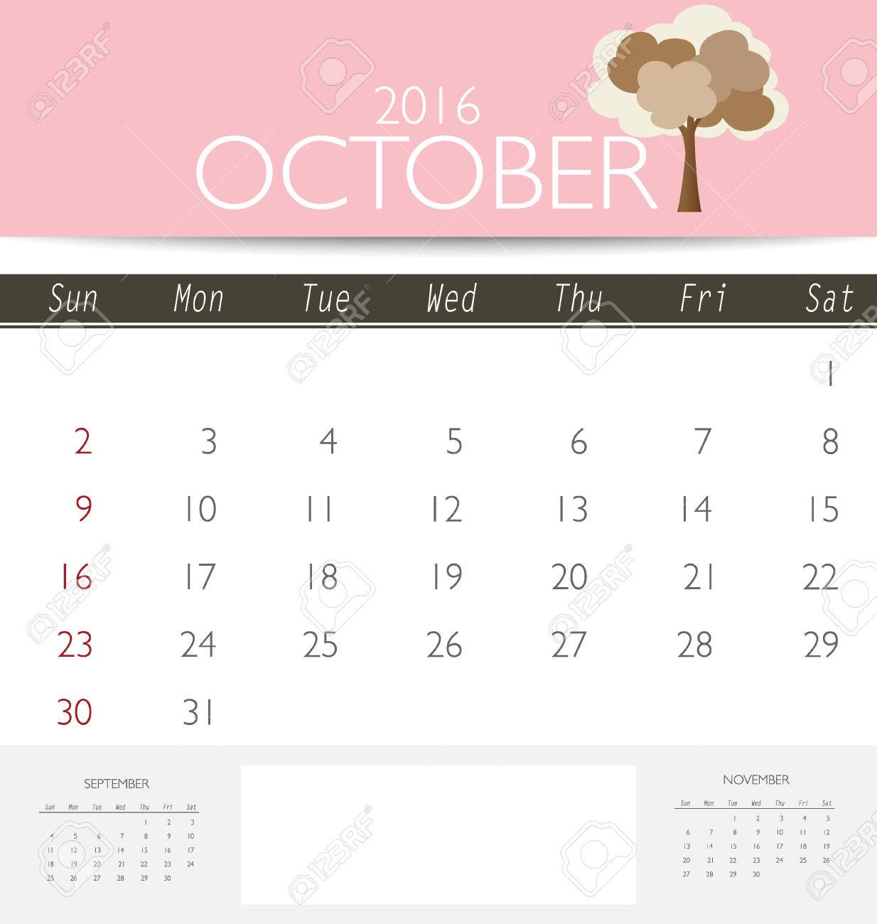 2016 Calendar  Monthly Calendar Template For October  Vector     2016 calendar  monthly calendar template for October  Vector illustration   Stock Vector   45980259