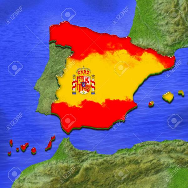 Stock Illustration 3D map of Spain painted in the colors of the Spanish flag  surrounded by  land