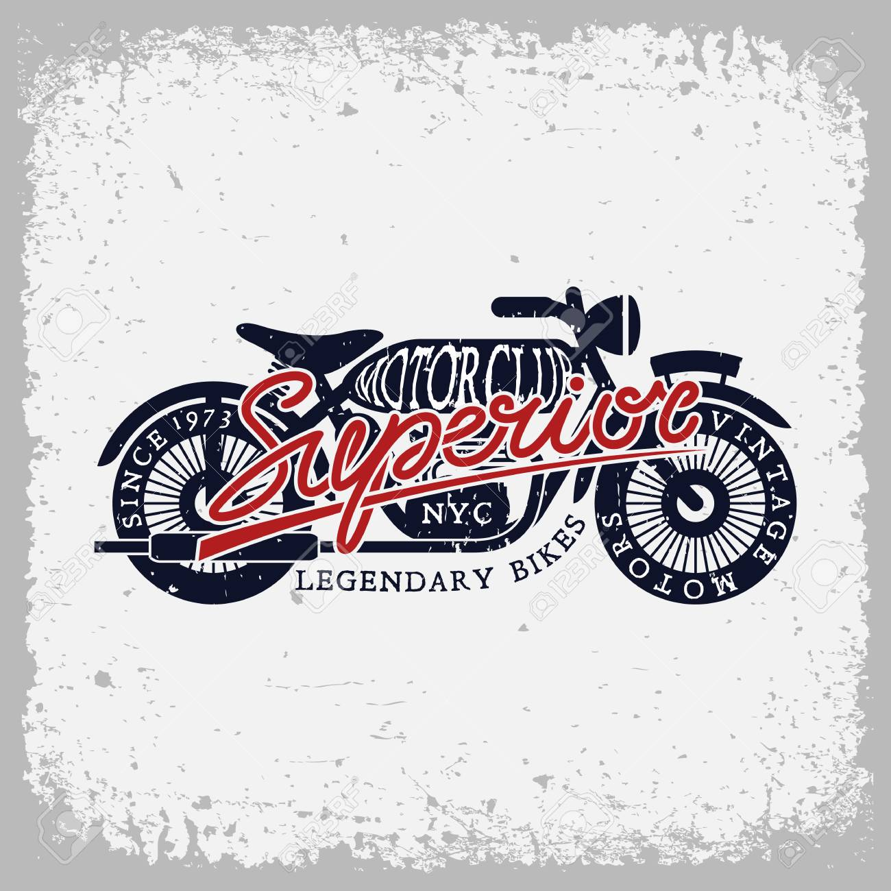 vintage label with motorcycle and word superior on grunge background