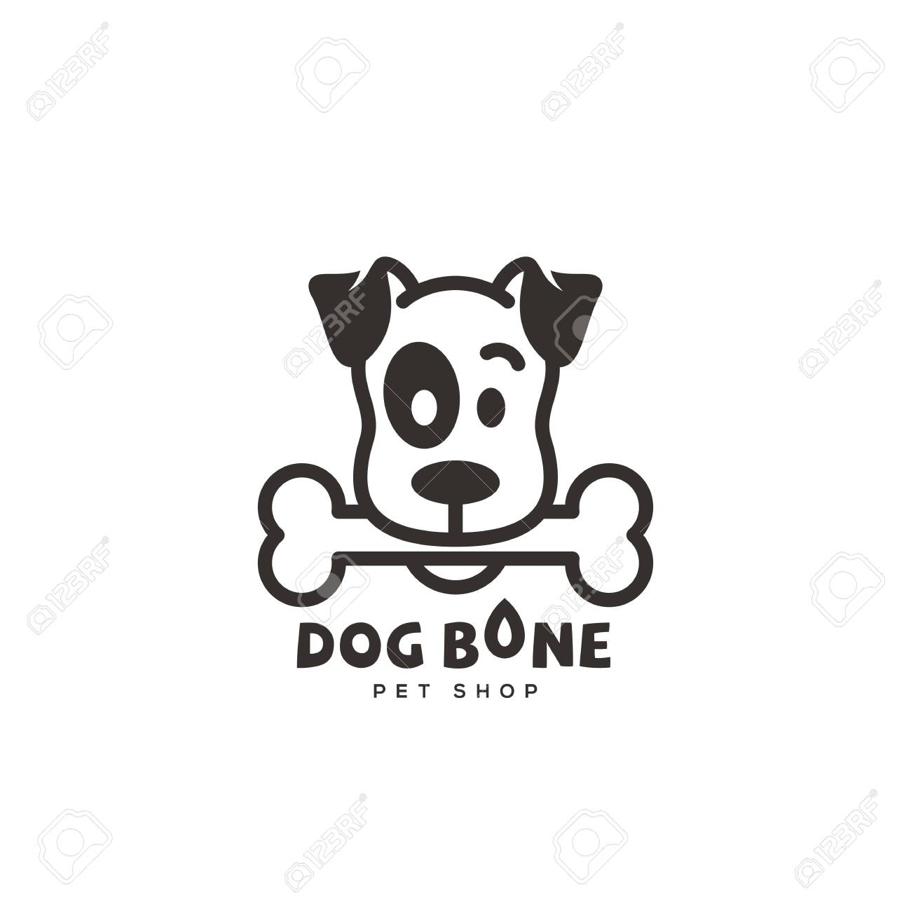 Dog Bone Logo Design Template In Linear Style Vector Illustration Royalty Free Cliparts Vectors And Stock Illustration Image 125472451
