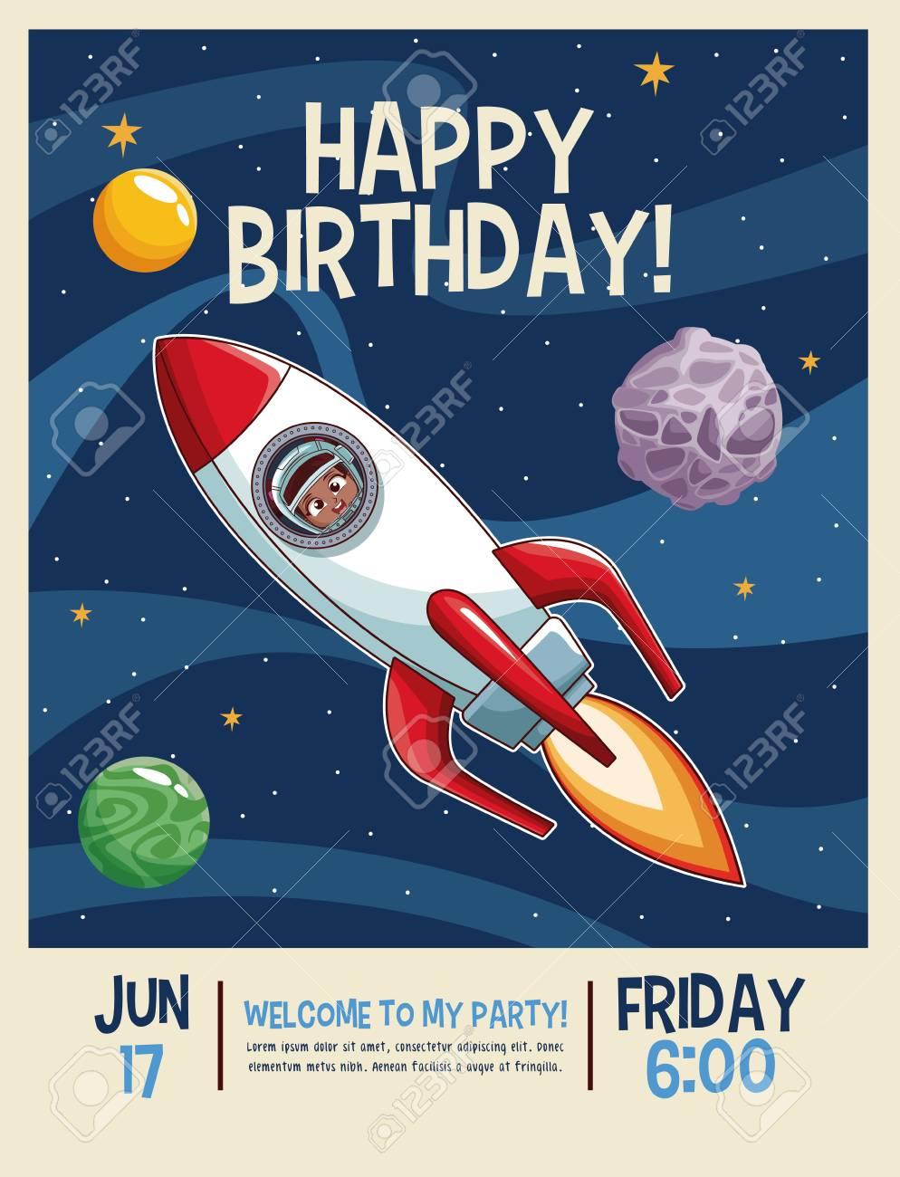 happy birthday invitation card astronauts kids cartoons vector