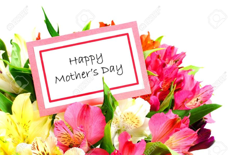 Happy Mothers Day Card Among Colorful Flowers Over White Stock Photo     Happy Mothers Day Card among colorful flowers over white Stock Photo    18802465