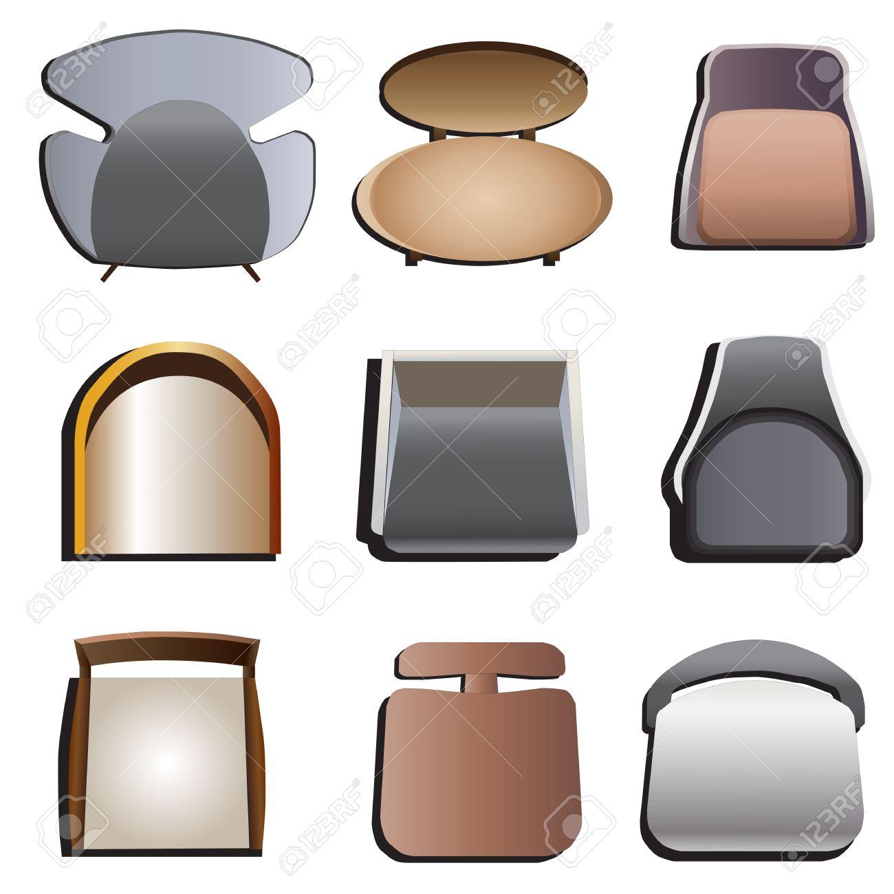 chaises vue de dessus set 4 pour l interieur illustration vectorielle
