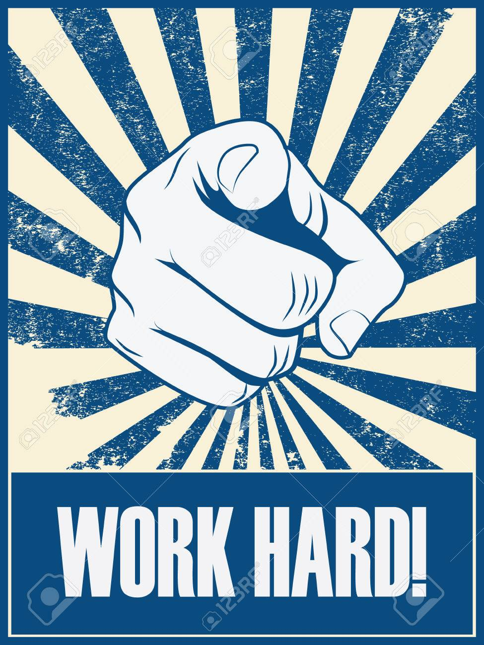 work hard motivational poster vector background with hand and