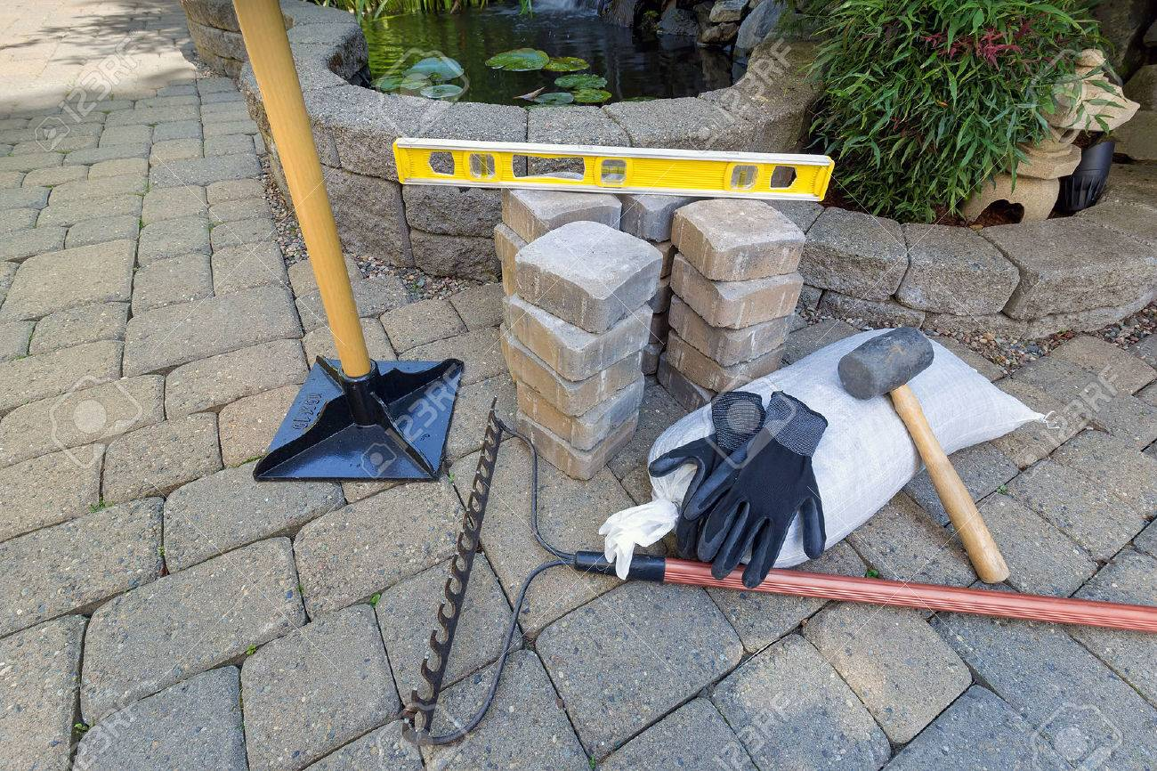 soleras de piedra para patio trasero patio estanque de elementos solidos con el nivel de herramientas de jardineria jardin guantes de goma de grava