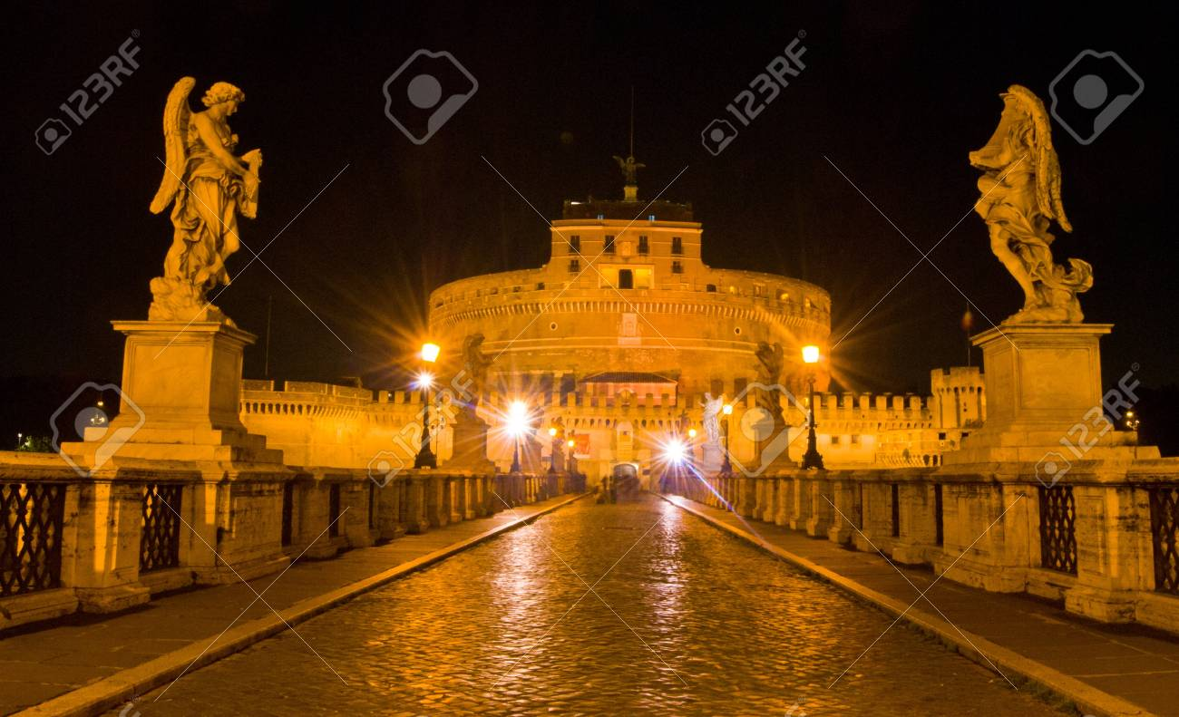 Famous Castel Sant Angelo In Rome At Night Stock Photo Picture And Royalty Free Image Image 16362446