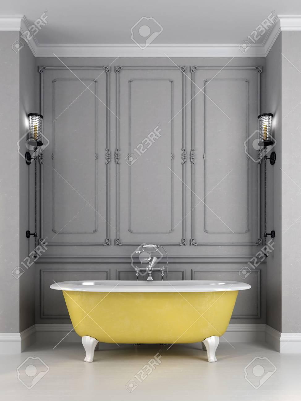salle de bains dans un style classique composee de bain jaune vif contre un mur gris qui est decore d un motif et appliques sur les cotes