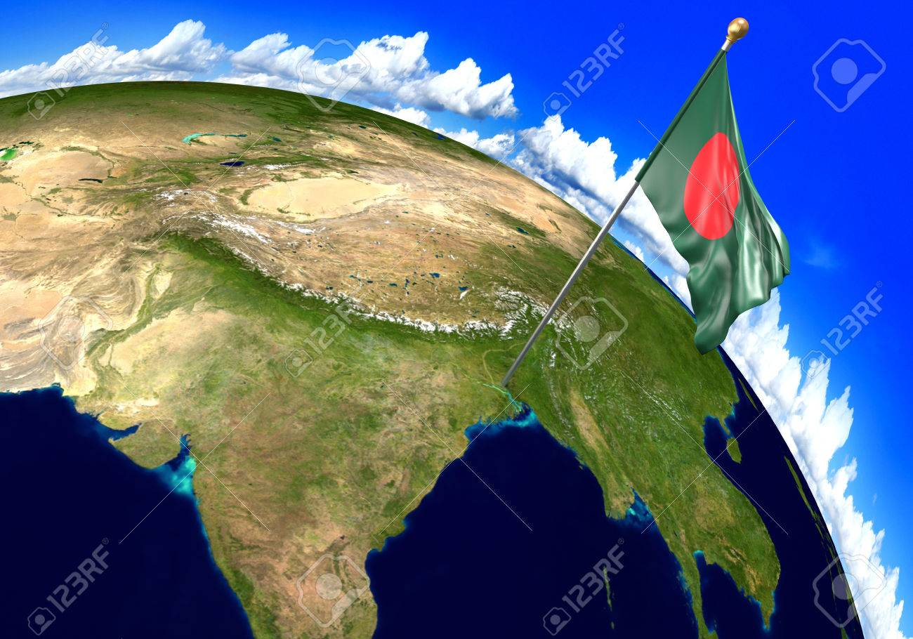 Bangladesh National Flag Marking The Country Location On World Stock Photo Picture And Royalty Free Image Image 72959319