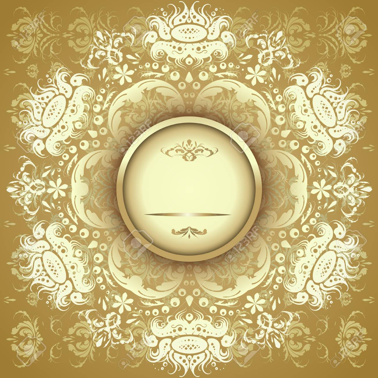 Illustration Of Gold Oriental Rug Napkin