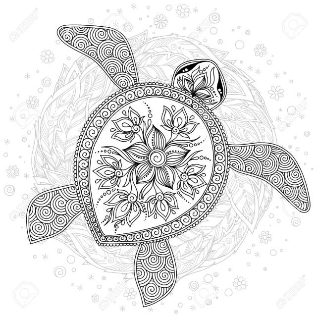Coloring Book For Adults. Coloring Page. Turtle With Different