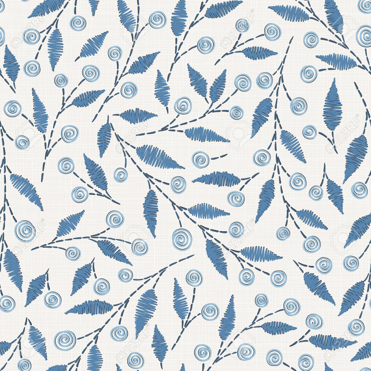 embroidery floral seamless pattern on linen cloth texture for