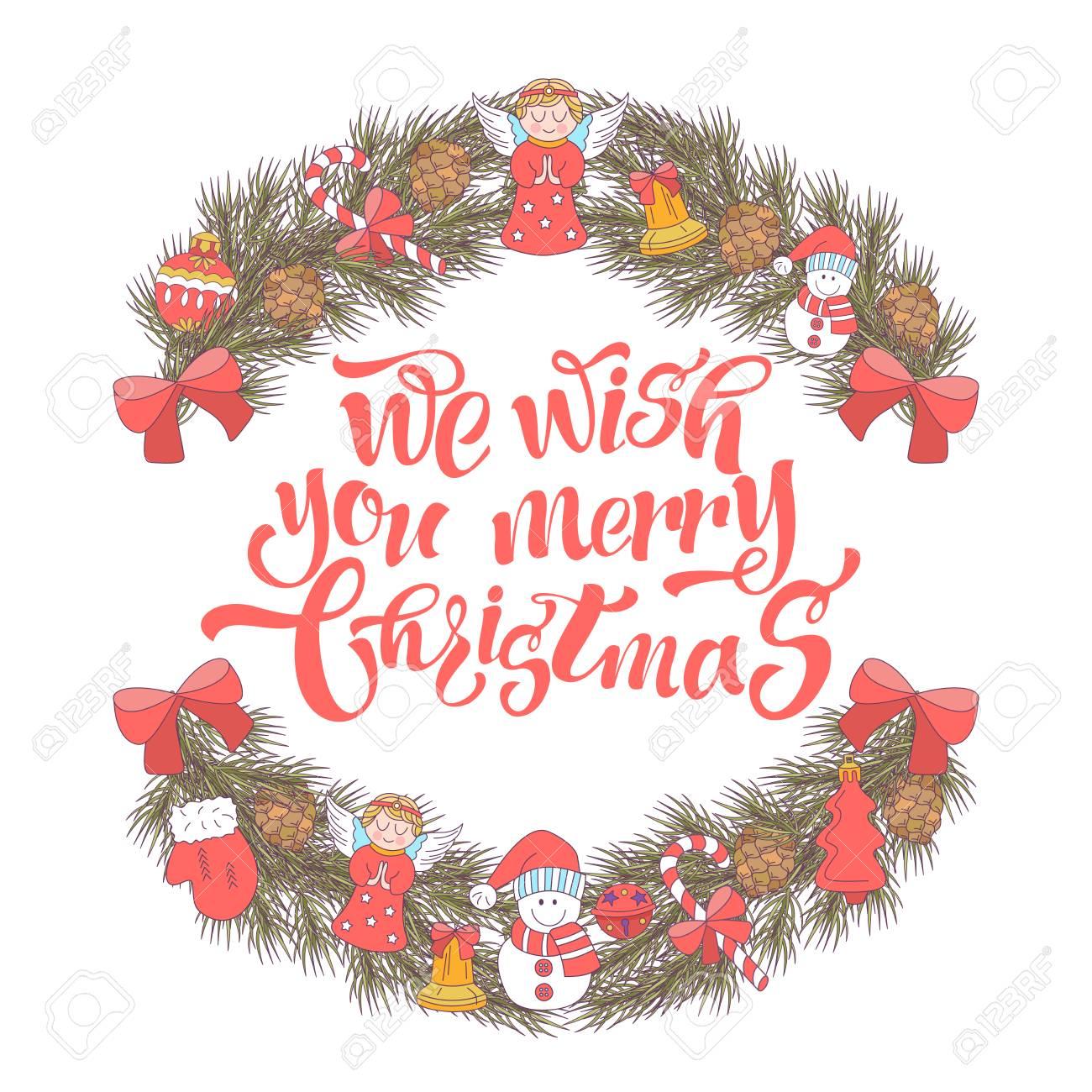 Merry Christmas Vector Christmas Card Fir Wreath Decorated