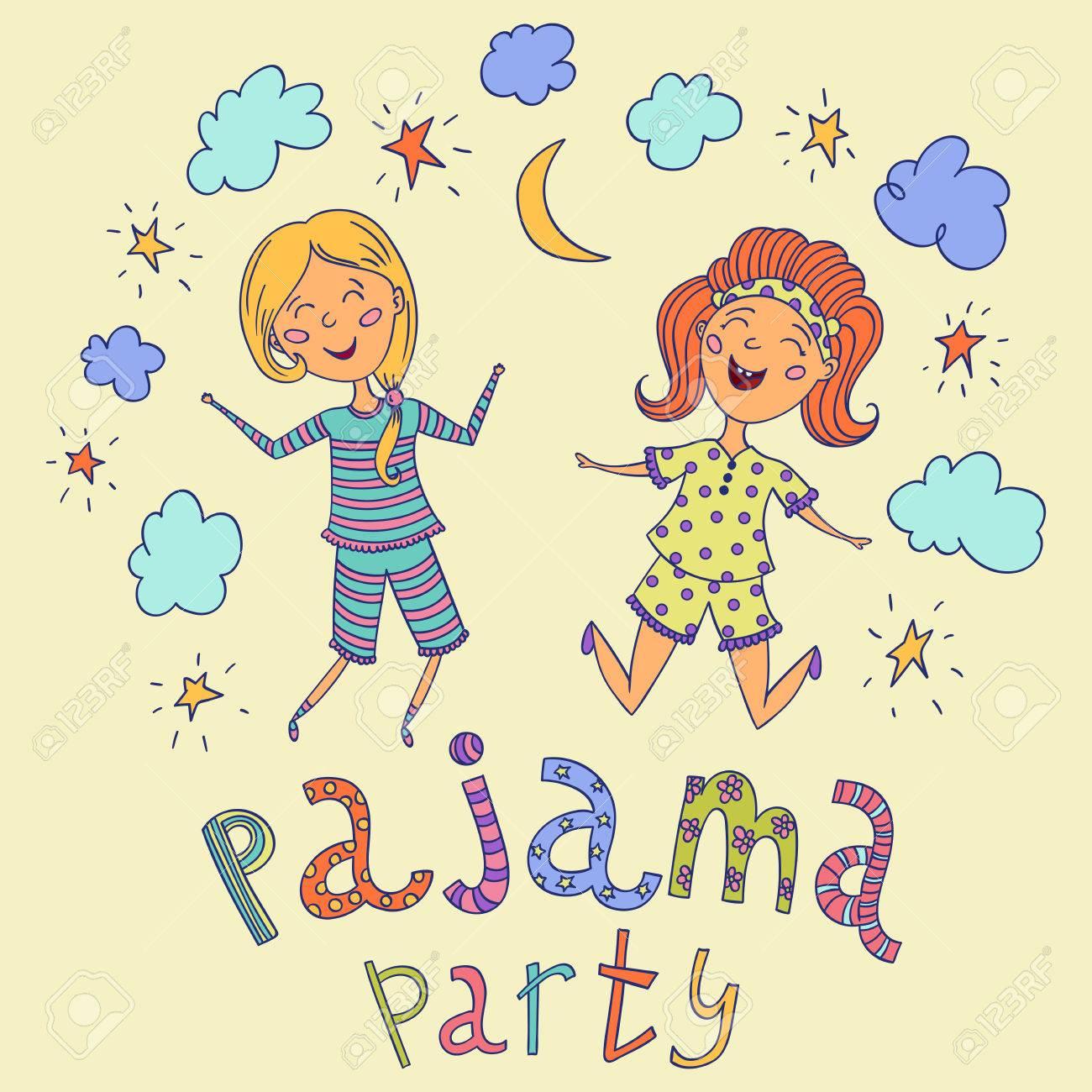 soiree pyjama enfants droles et lettrage avec des etoiles croissant et les nuages personnages de dessins animes illustration