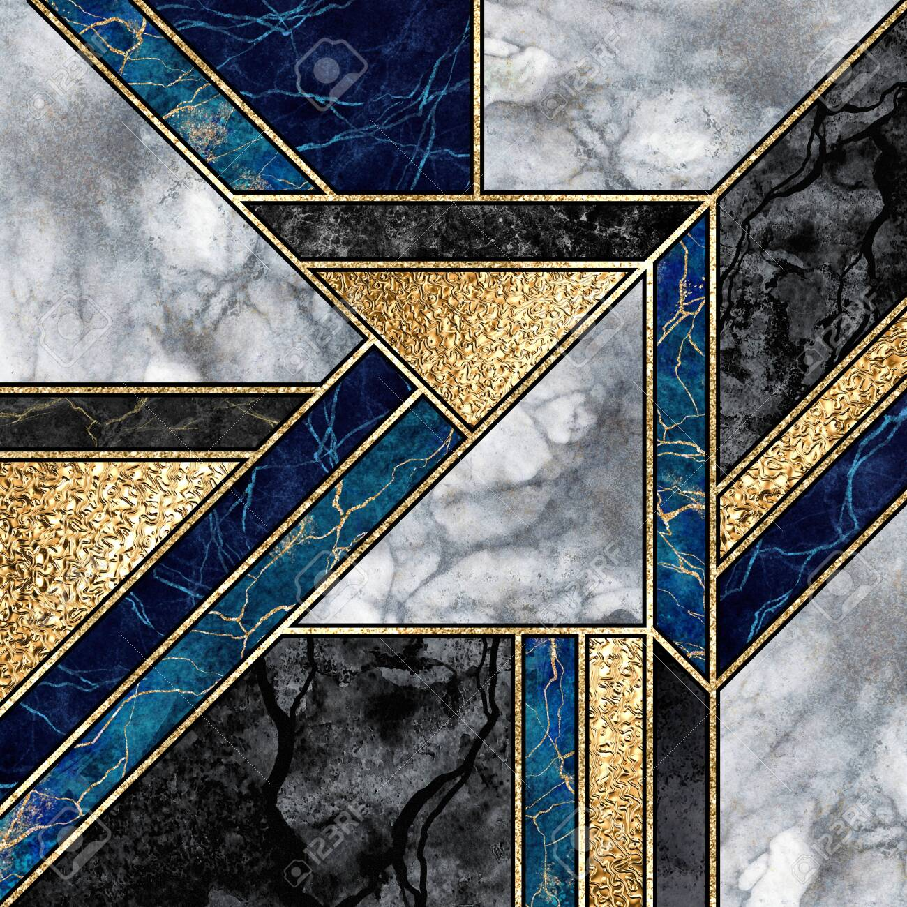 abstract marble mosaic background art deco wallpaper black