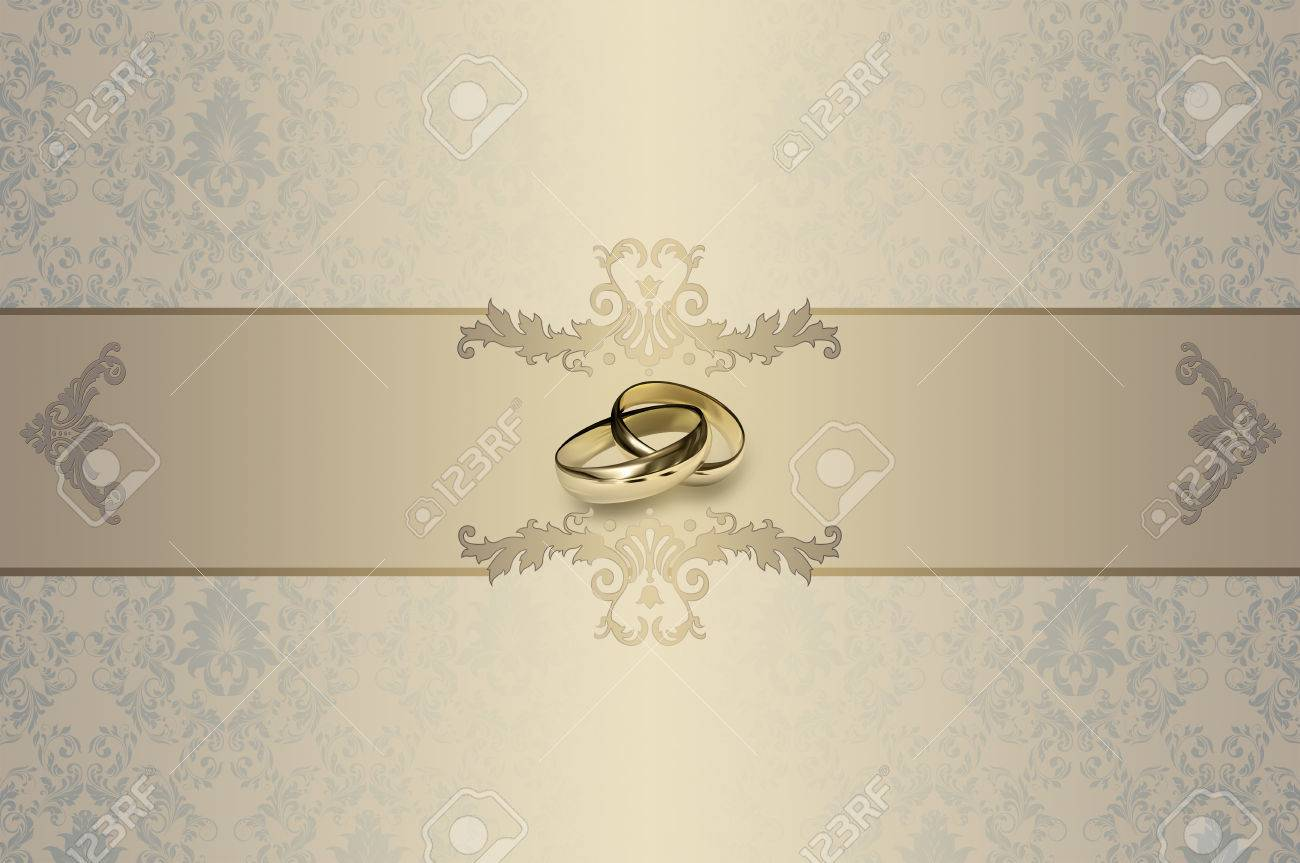 modele de la carte d invitation de mariage fond decoratif avec des anneaux d or et motifs elegants banque d images et photos libres de droits image 35330470