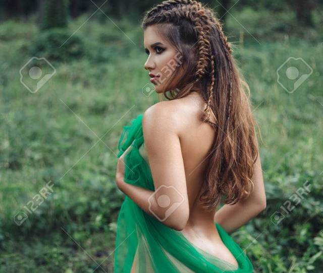 Sexy Girl In Clothes From Leaves Fantasy Picture Creative Colors Stock Photo 84561420