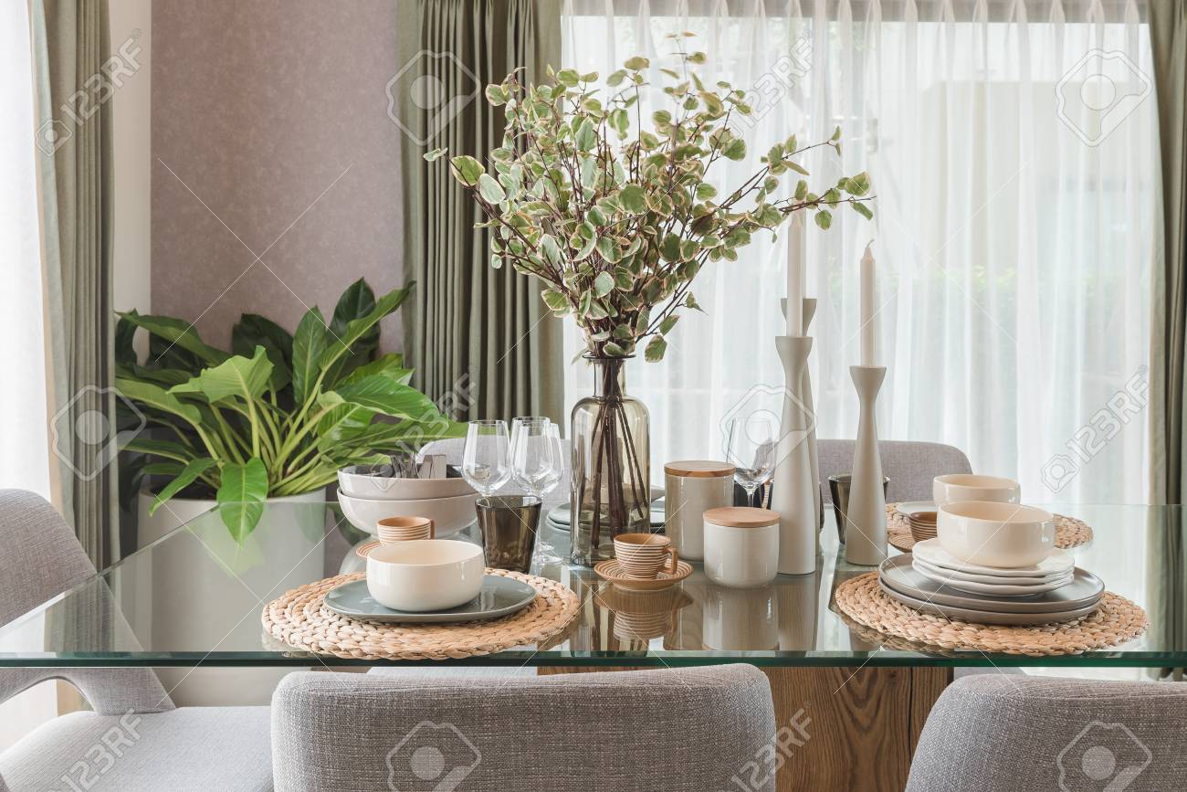 Glass Dining Table With Table Set In Modern Dining Room Interior Stock Photo Picture And Royalty Free Image Image 74473933