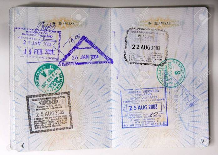 Passport Stamps Entering Thailand Singapore And Indonesia Stock Photo Picture And Royalty Free Image Image 599685