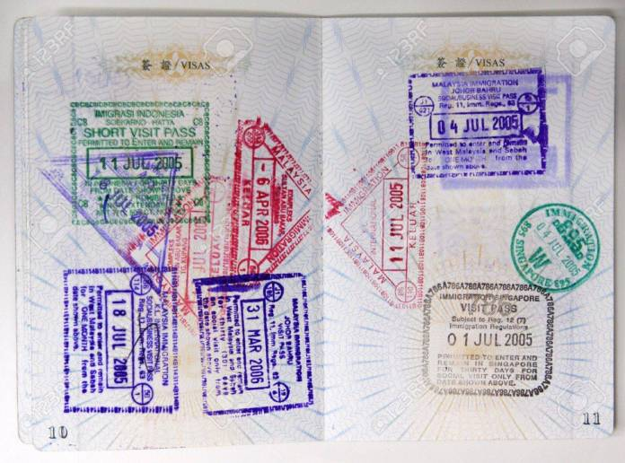 Passport Stamps Entering Malaysia Singapore Thailand And Indonesia Stock Photo Picture And Royalty Free Image Image 599683