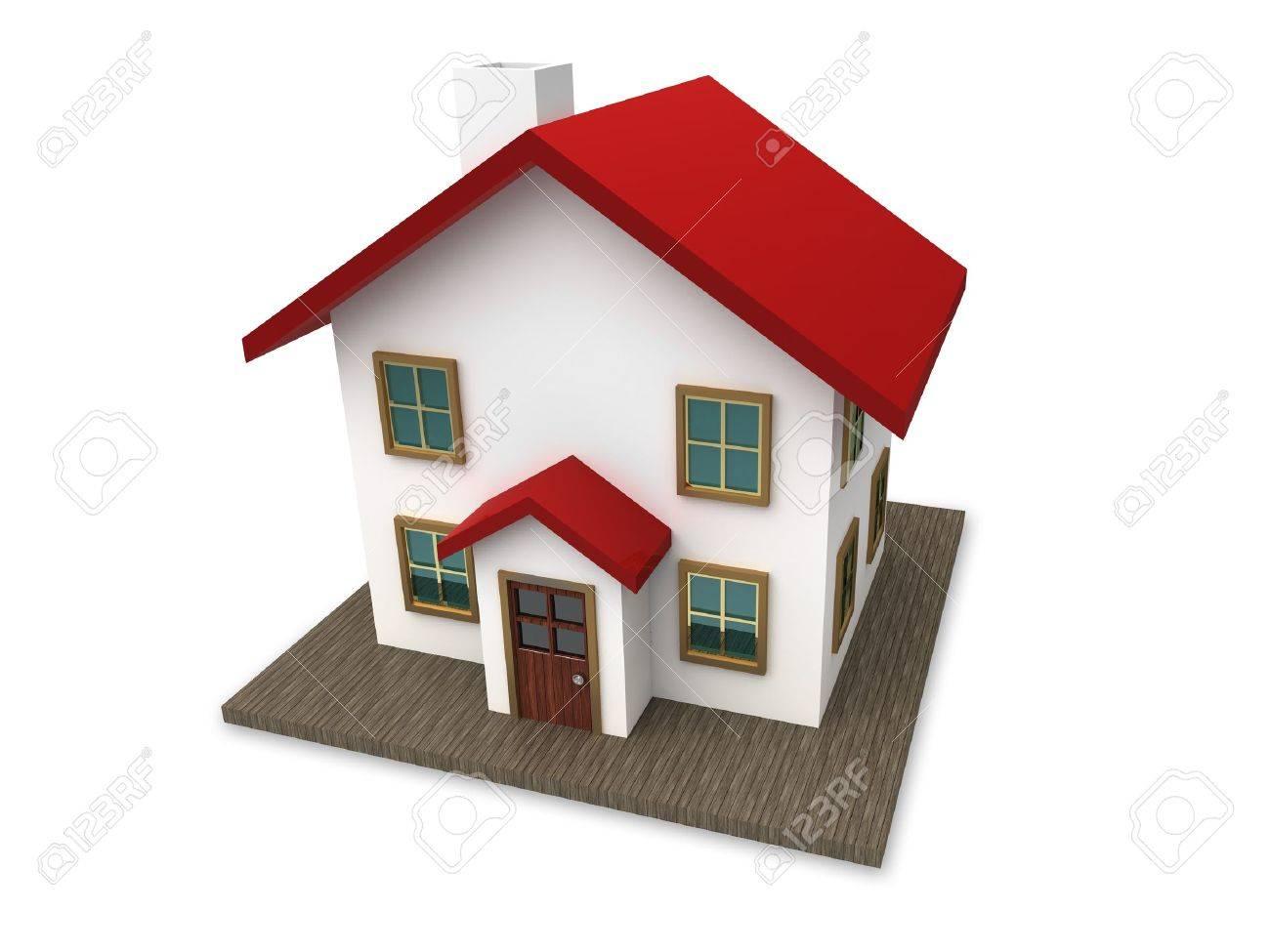 une petite maison au toit rouge sur un fond blanc creee en 3d
