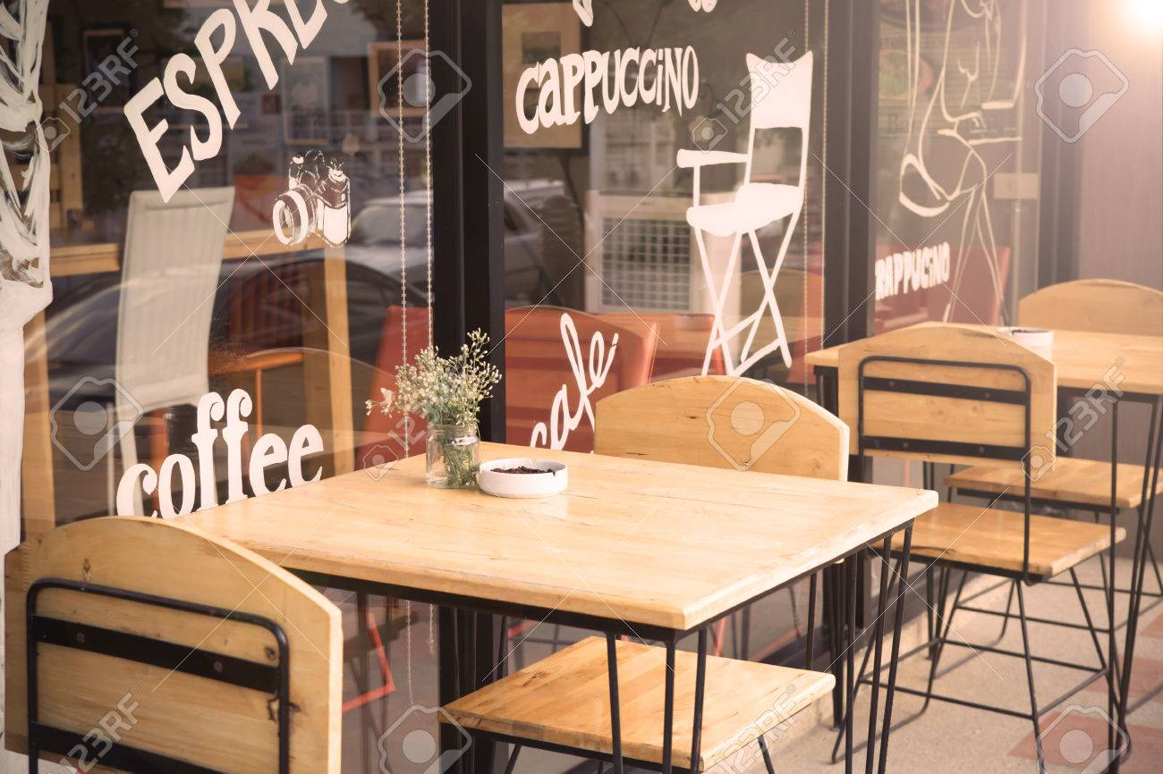Selective Focus Of Table Of Coffee Shop Outside View With Vintage Stock Photo Picture And Royalty Free Image Image 63405443