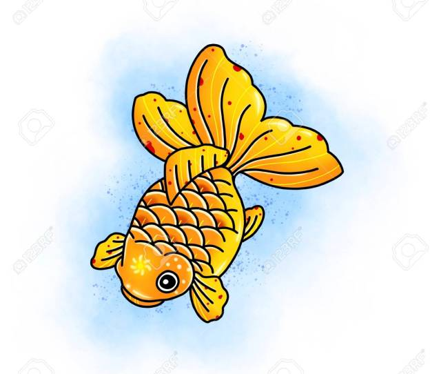 Carp Koi Fish Tattoo Design Cartoon Illustration Hand Drawn Style Stock Illustration