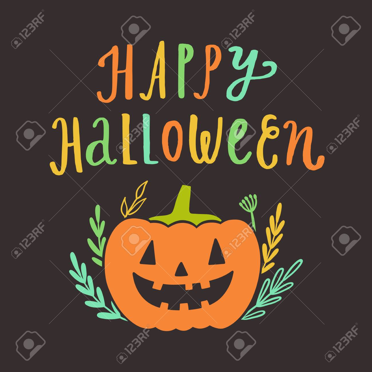 Happy Halloween Greeting Card Vector Hand Drawn Cute Illustration Stock Photo Picture And Royalty Free Image Image 87109165