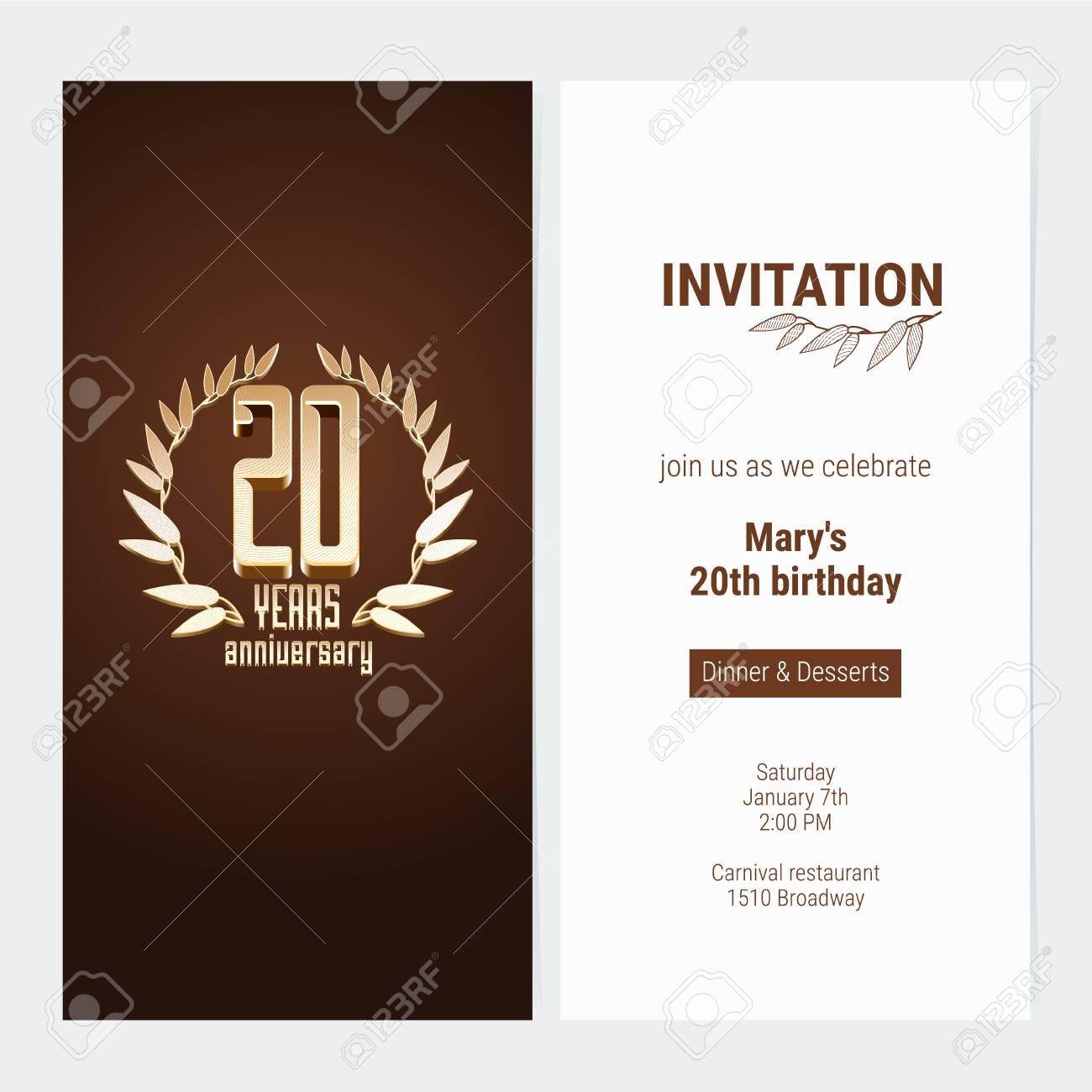 Invitation Anniversaire De 20 Ans Pour Célébrer Lillustration Vectorielle De Lévénement élément De Modèle De Conception Avec Le Nombre Dor Et Le