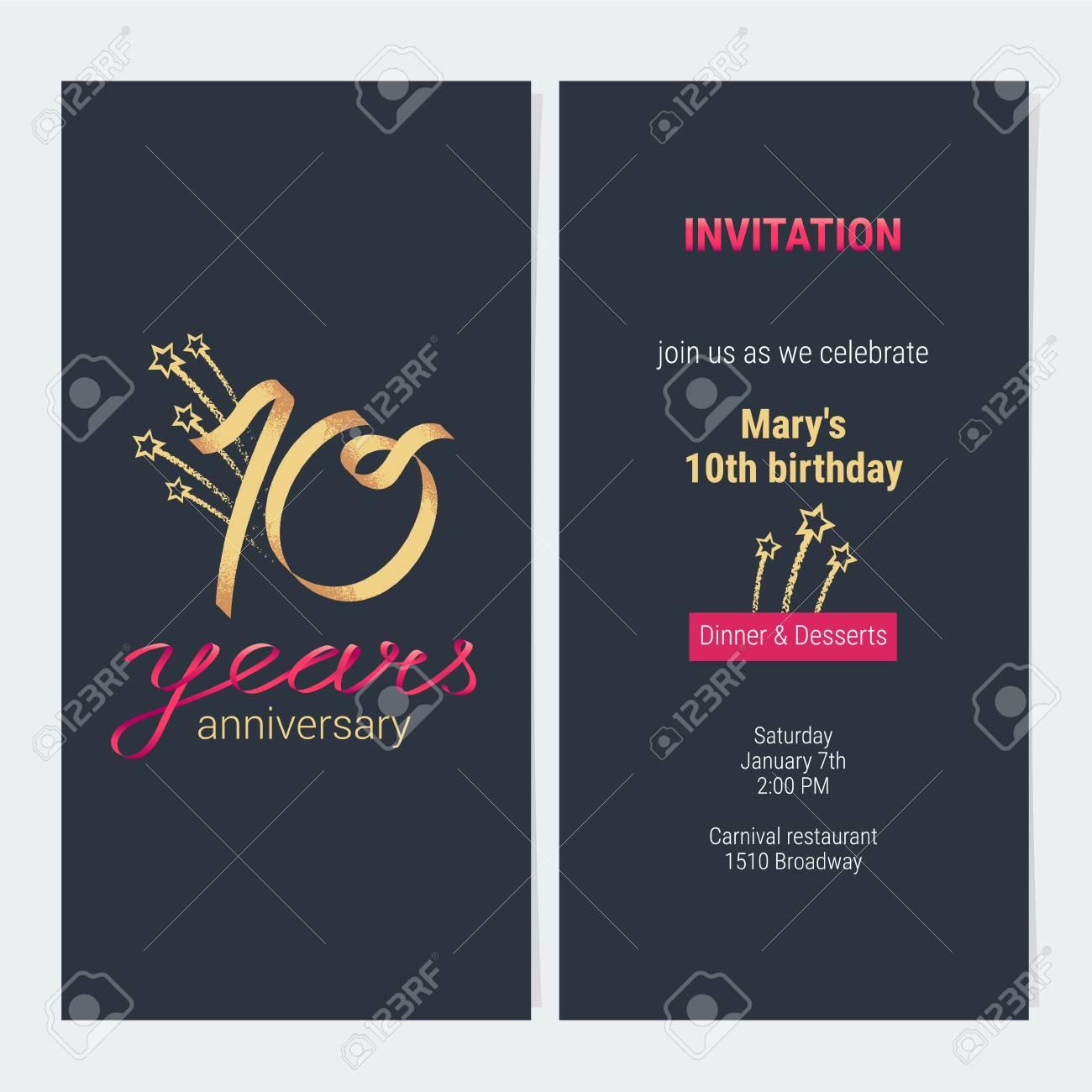invitation anniversaire 10 ans pour celebrer l illustration vectorielle element de modele de conception avec nombre d or et texte pour la 10e carte