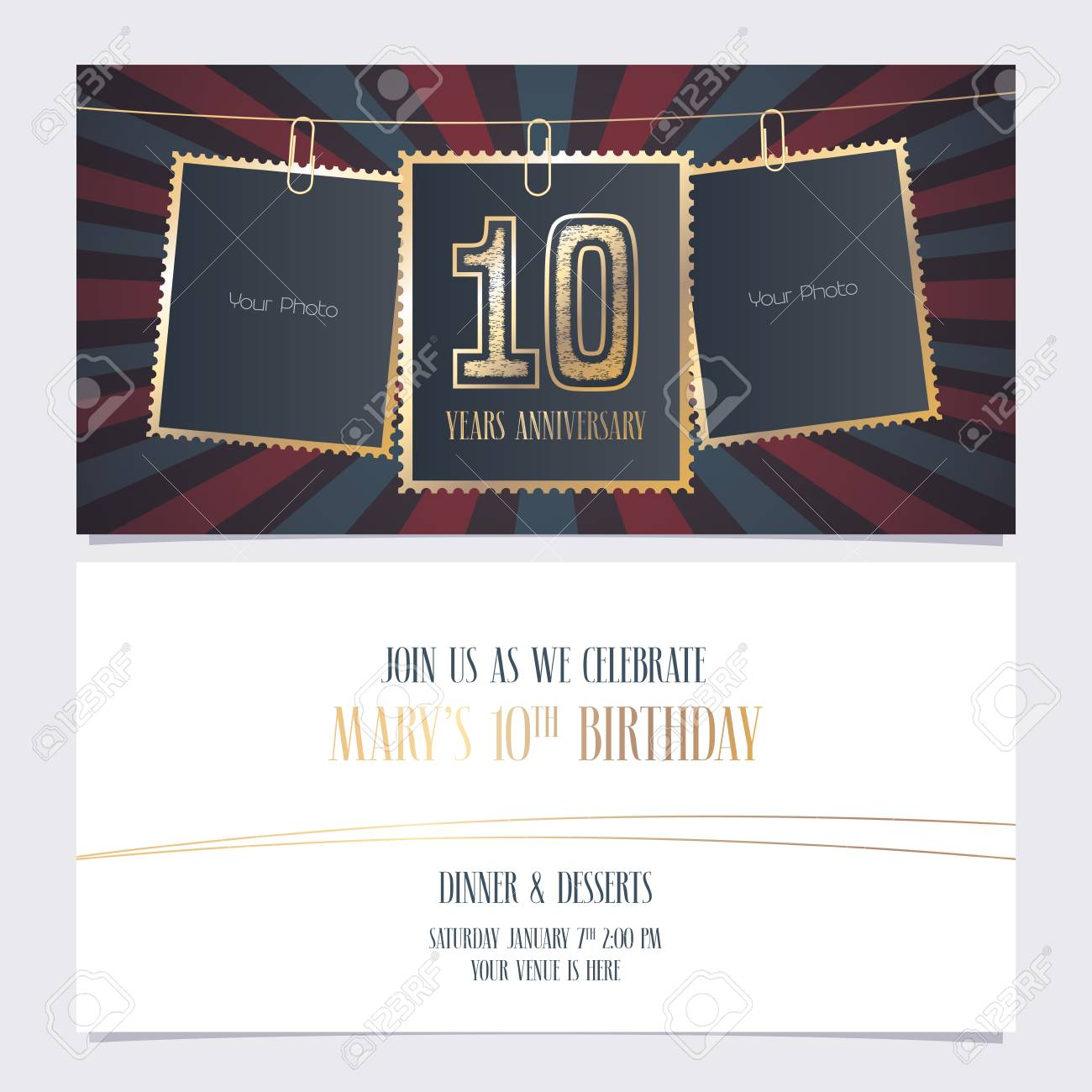 10 years anniversary party invitation vector template illustration