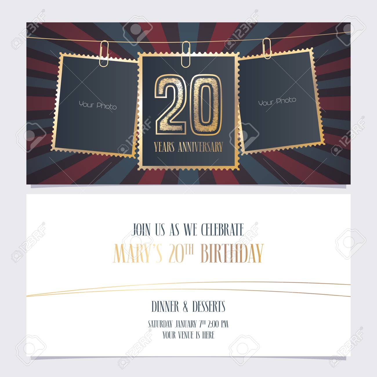20 years anniversary party invitation vector template illustration