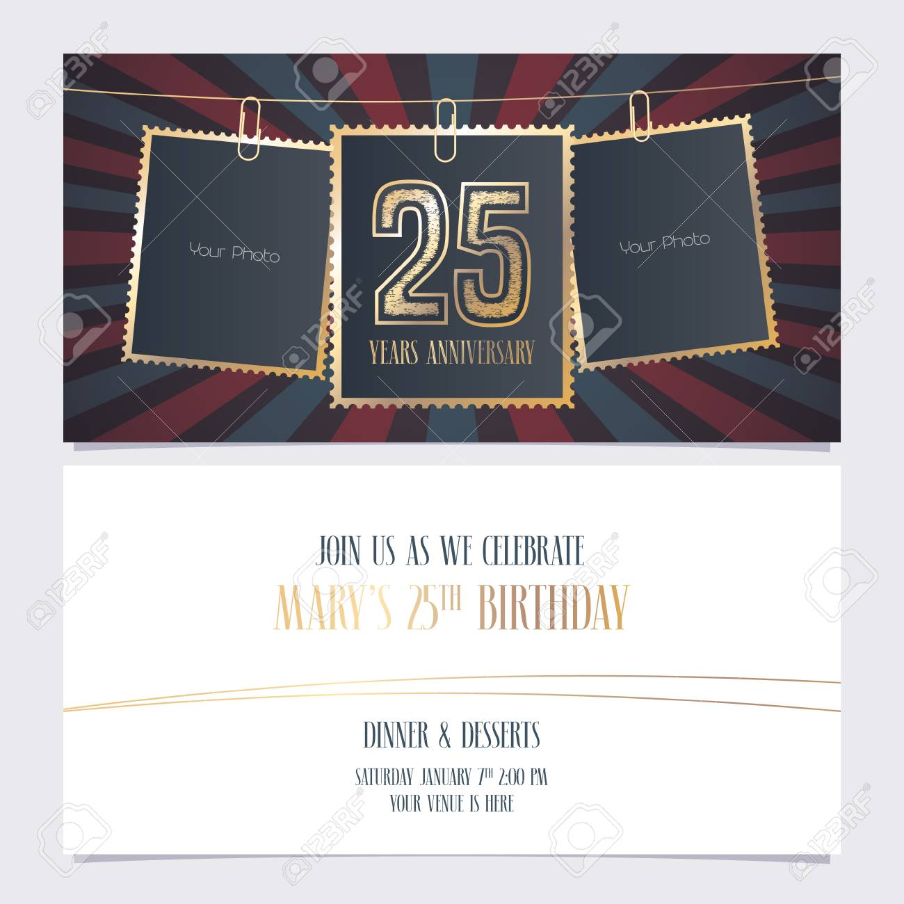 25 years anniversary party invitation vector template illustration