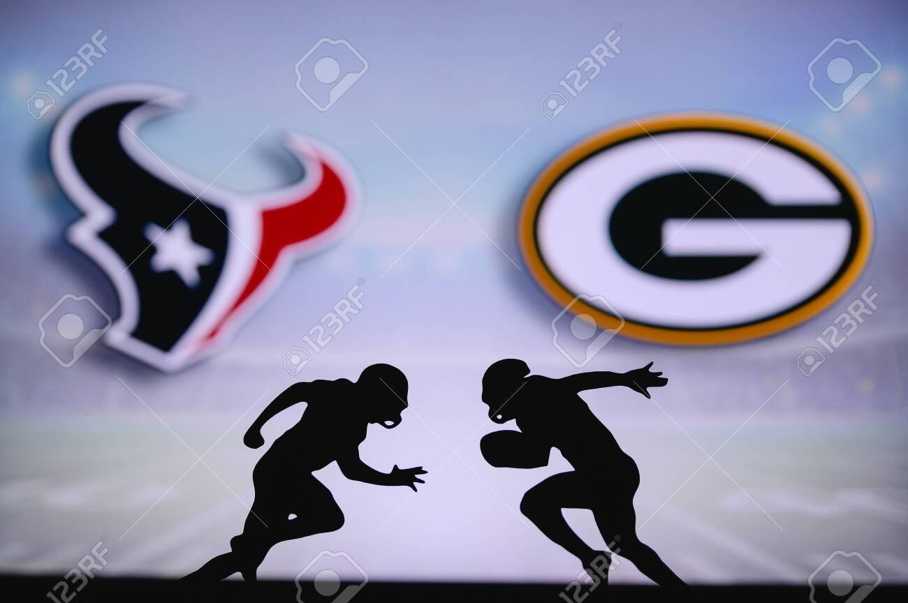 houston texans vs green bay packers nfl match poster two american stock photo picture and royalty free image image 153545964