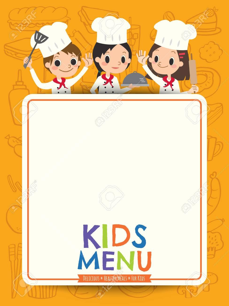 Menu Enfants Jeune Chef Enfants Avec Menu Vierge Illustration Carte De Bande Dessinee Clip Art Libres De Droits Vecteurs Et Illustration Image 57729382