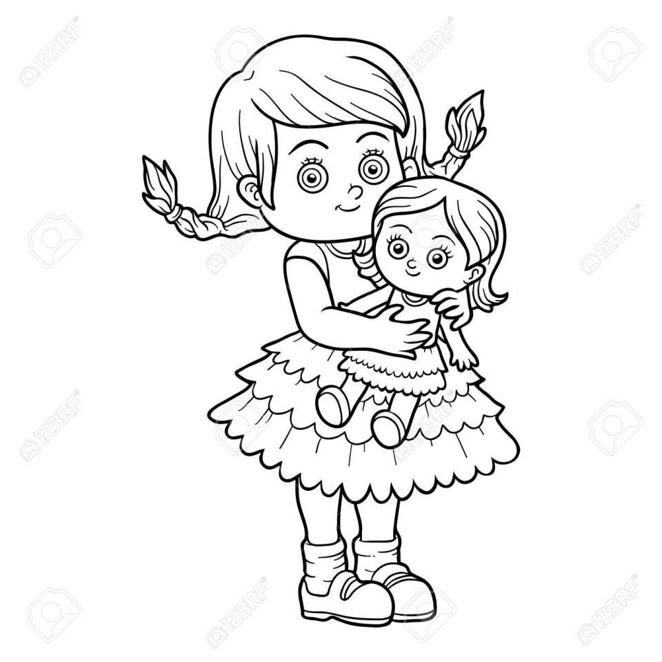 子供のための塗り絵。人形を持つ少女