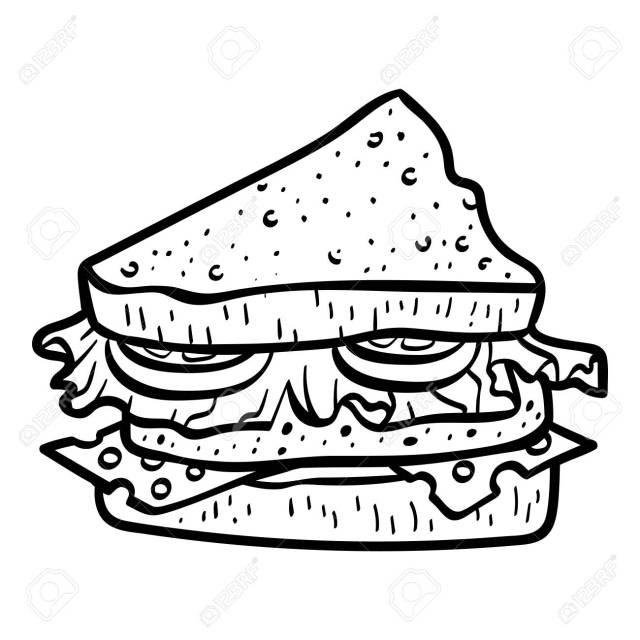 Coloring Book For Children, Sandwich Royalty Free Cliparts