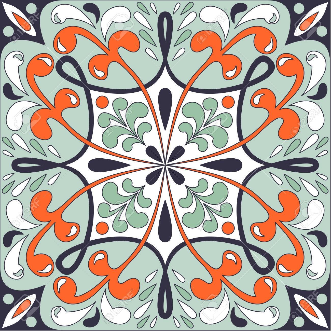 oriental traditional floral ornament moroccan tile design vector