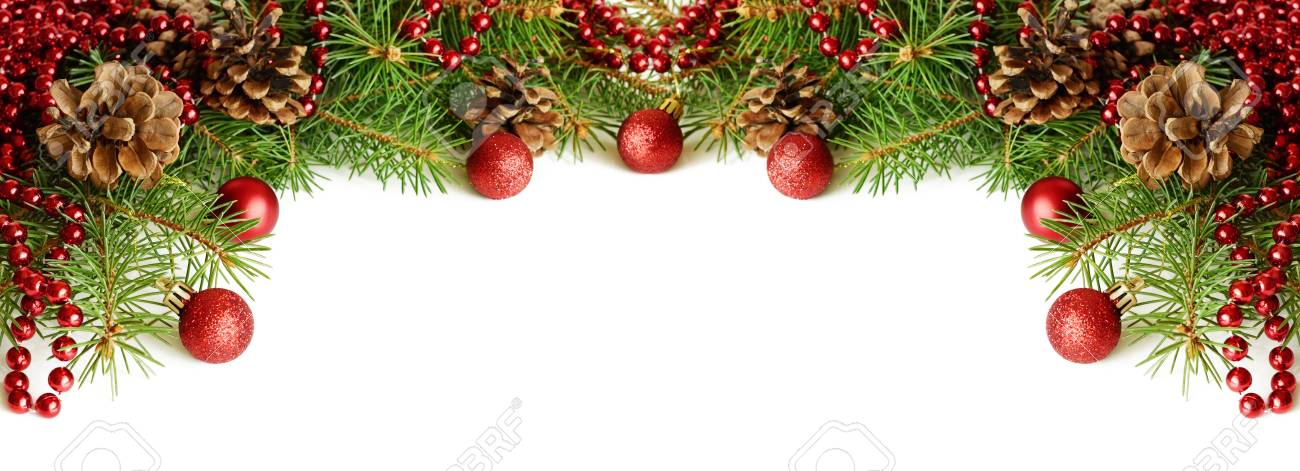 New Year Decorations On White Background For Header Or Holiday     New year decorations on white background for header or holiday card Stock  Photo   87652245