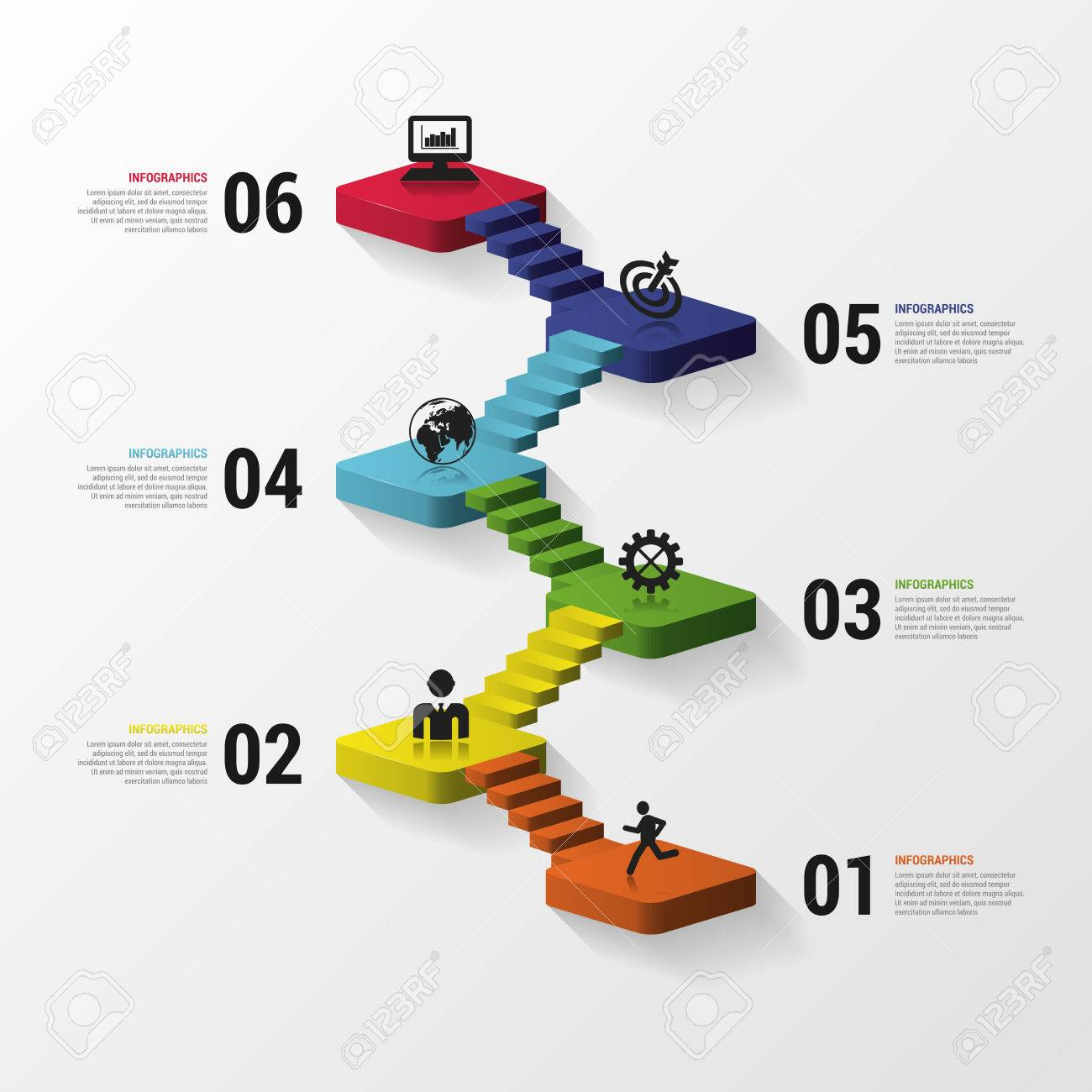Abstract 3d Stairs Infographics Or Timeline Template  Vector     Abstract 3d stairs infographics or timeline template  Vector illustration  Stock Vector   45338498