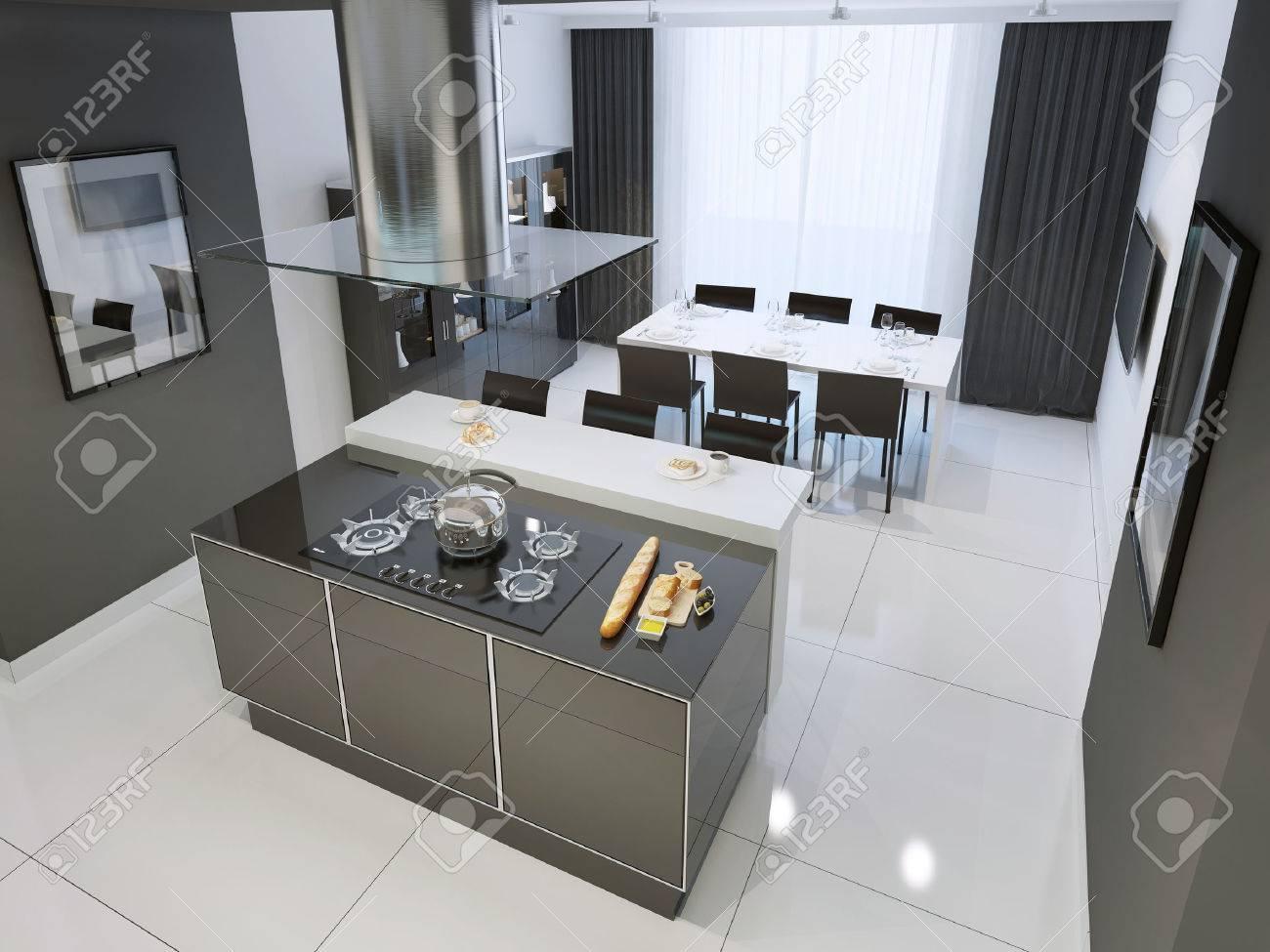 techno interieur de cuisine noir et blanc avec un sol blanc 3d render