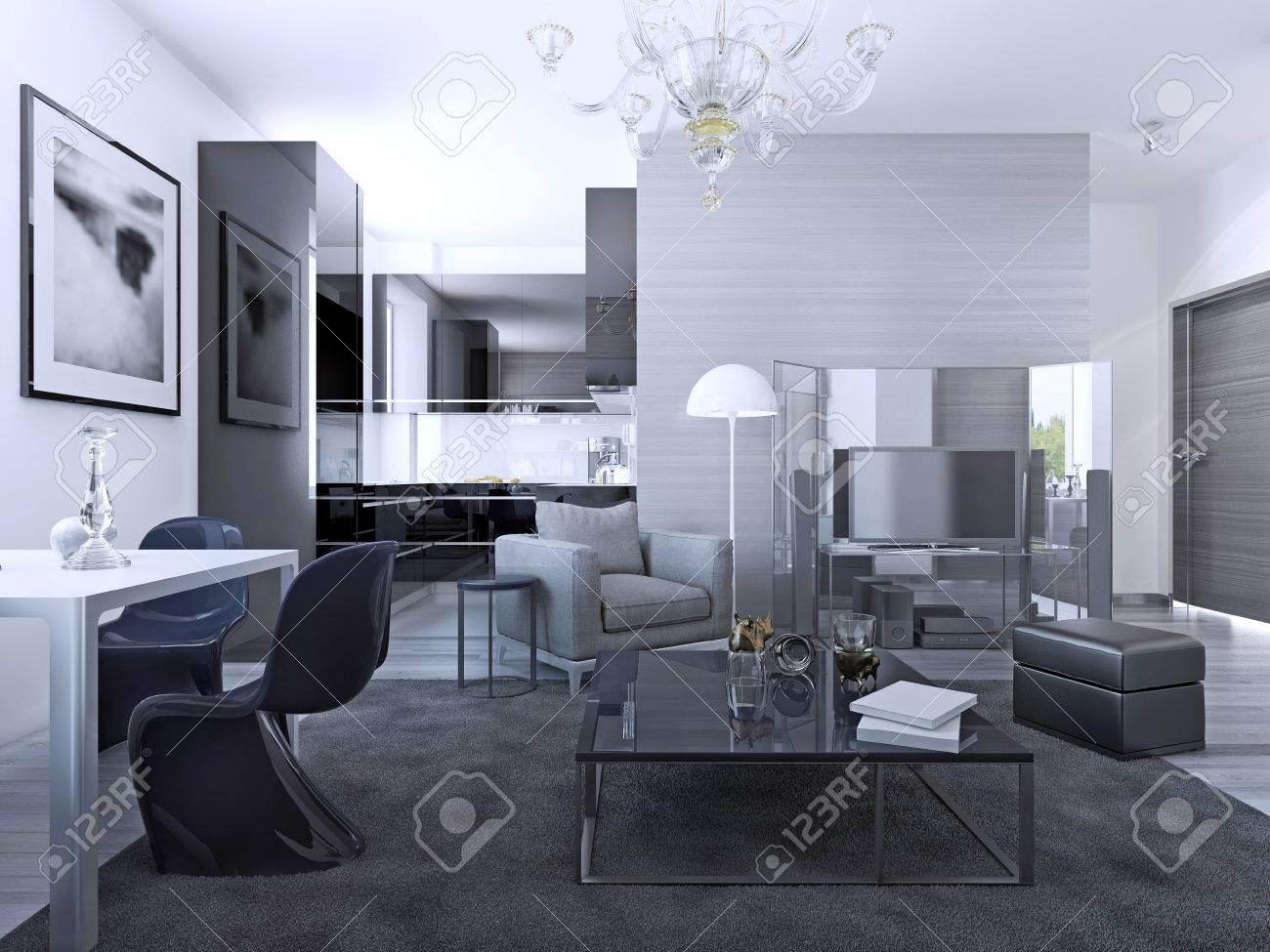 contemporain salon studio murs gris clair mobilier cuisine elegante de fond 3d render