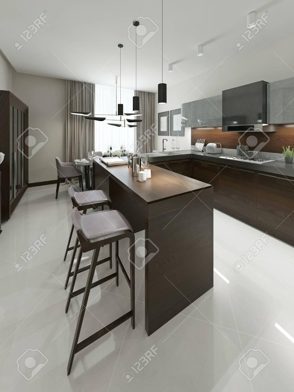 interieur cuisine contemporaine avec bar et tabourets de bar cuisine meubles en bois avec des inserts metalliques dans les tons bruns et gris 3d