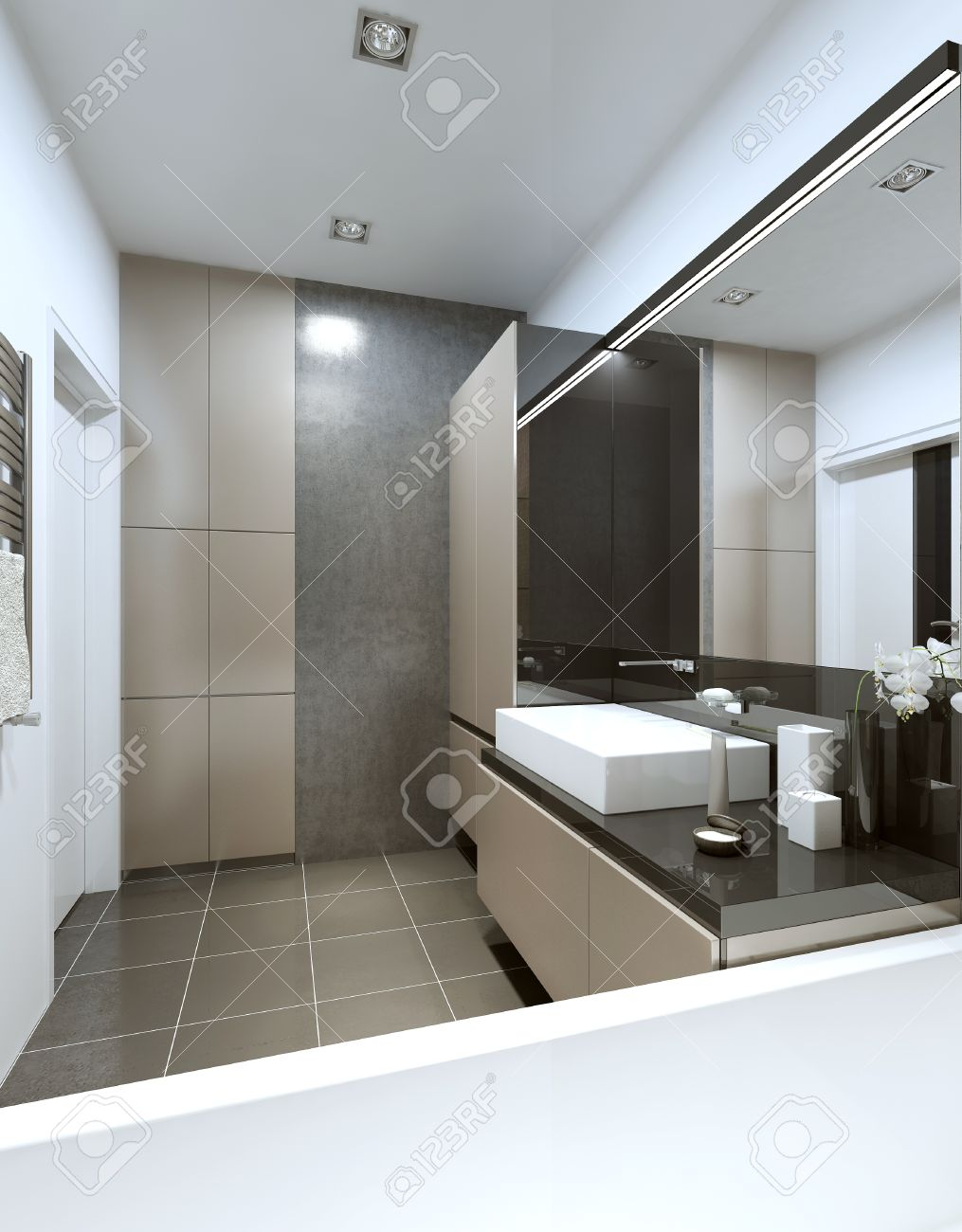 salle de bains moderne avec beige et mobilier gris et un plancher en beton et les murs rendu 3d