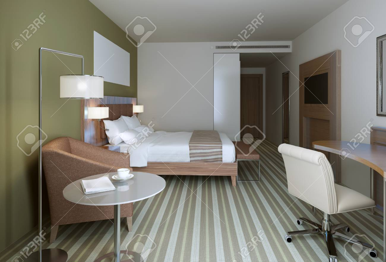 Master Bedroom In Contemporary Style Wooden Furniture White