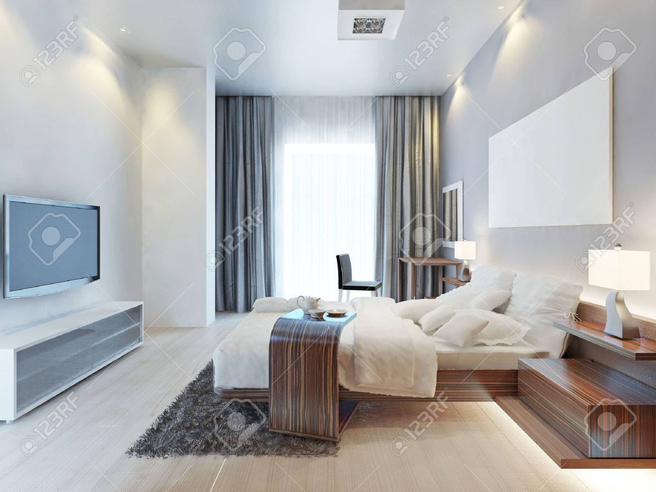 Design Bedroom Contemporary Style Room With Wooden Furniture